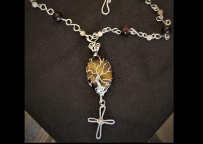 This Tiger Eye Cabachon Tree of Life Cross Pendulum Peach Moonstone Tiger Eye Sterling Silver Chain Ambrosias Creative Realm
