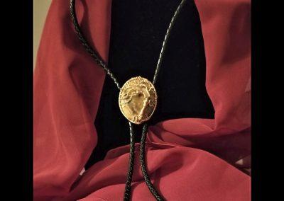 Dual Purpose Bolo Brooch Black Leather Cord Custom Copper Tips Picture Agate Stone Tree of Life Ambrosias Creative Realm Design