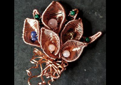 Green Malachite Rose Quartz Sodalite Quartz Crystal Moonstone Four Cala Lillies Copper Wire Pin Ambrosias Creative Realm