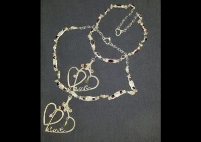 Sterling Silver Double Heart Love Necklace Custom Design Natal Charts Unique Ambrosias Creative Realm