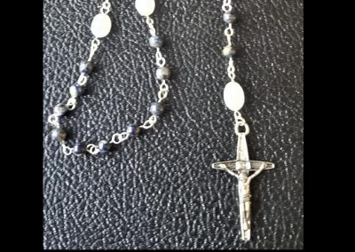 Hand-crafted Rosary Blue White Sodalite Moonstone  Natal Chart Sterling Silver Pewter Cross Station Ambrosias Creative Realm
