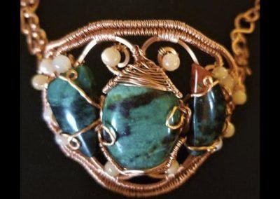 Copper Wire Weave Bracelet Sonoran Sunset Peach Moonstone Ambrosias Creative Realm