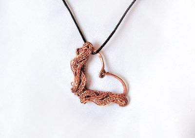Ambrosias Creative Realm Handmade Chained Heart Copper Pendant Necklace
