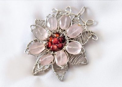 Sterling Silver Wire Wrapped Flower Pendant Rose Quartz Petals Jewelry Ambrosias Creative Realm