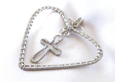 Handmade Wire Wrap Heart Cross Pendant Jewelry Ambrosias Creative Realm