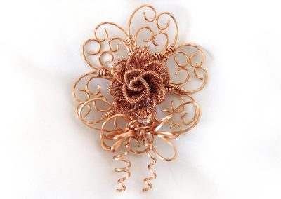 Rose Hearts Forever Corsage Boutonniere Brooch Copper Wire Wrap Pin Ambrosias Creative Realm