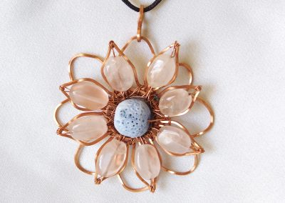 Rose Quartz Blue Lava Rock Copper Sunflower Necklace Pendant Handmade Jewelry Ambrosias Creative Realm