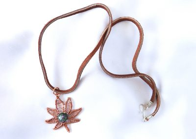 Copper Pot Leaf Pendant with Anyolite Ruby Zoisite Stone Center Necklace Jewelry Ambrosias Creative Realm
