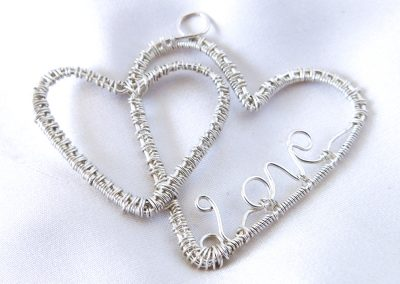 Double Heart Love Pendant Sterling Silver Handmade Jewelry Ambrosias Creative Realm