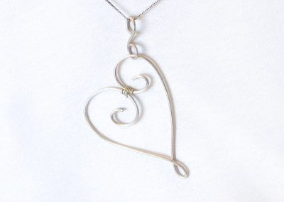 Sterling Silver Heart Necklace Wire Wrap Jewelry Ambrosias Creative Realm