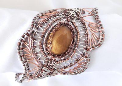 Southwestern Design Serpentine Wire Wrap Bracelet Sterling Silver Copper One of a Kind Design Ambrosias Creative Realm Jewelry