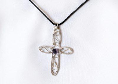 Filigree Cross Center Stone Pendant Necklace Ambrosias Creative Realm
