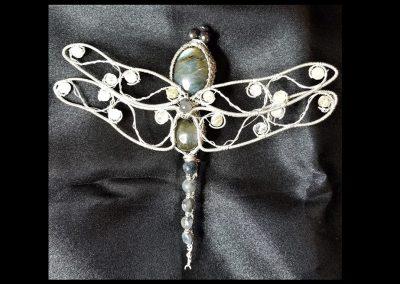 Sterling Silver Dragonfly Brooch Labradorite Aquamarine Stones Pin Ambrosias Creative Realm