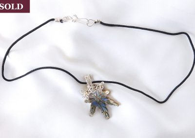 Abalone Shell and Sterling Silver Pot Leaf Necklace Pendant
