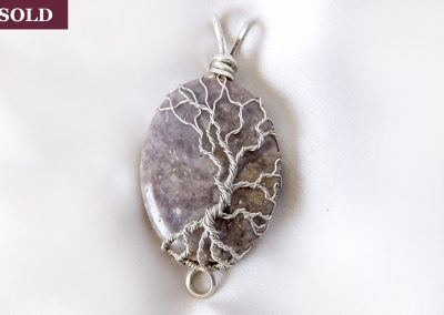 Tree of Life Pendant in Sterling Silver and Lavender Plume Agate