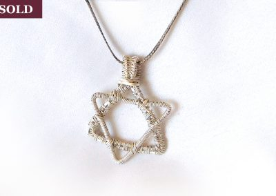 Star of David Sterling Silver Wire Wrap Pendant