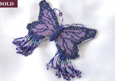 Iridescent Delica Beads Beaded Butterfly Hair Barrette Lavender Turquoise Ambrosias Creative Realm