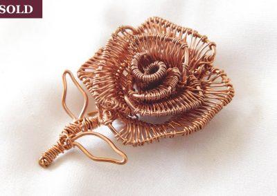 Copper Wire Wrap 3D Rose Brooch Custom Design Back Jewelry Ambrosias Creative Realm
