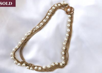Vintage 1960s Faux Pearl Three Chain Necklace Jewelry Ambrosias Creative Realm