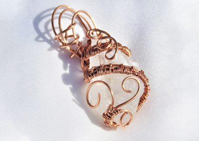 Spiral Copper Wrap Crystal Pendant