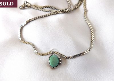 Vintage 1970's Turquoise & Sterling Silver Pendant Necklace
